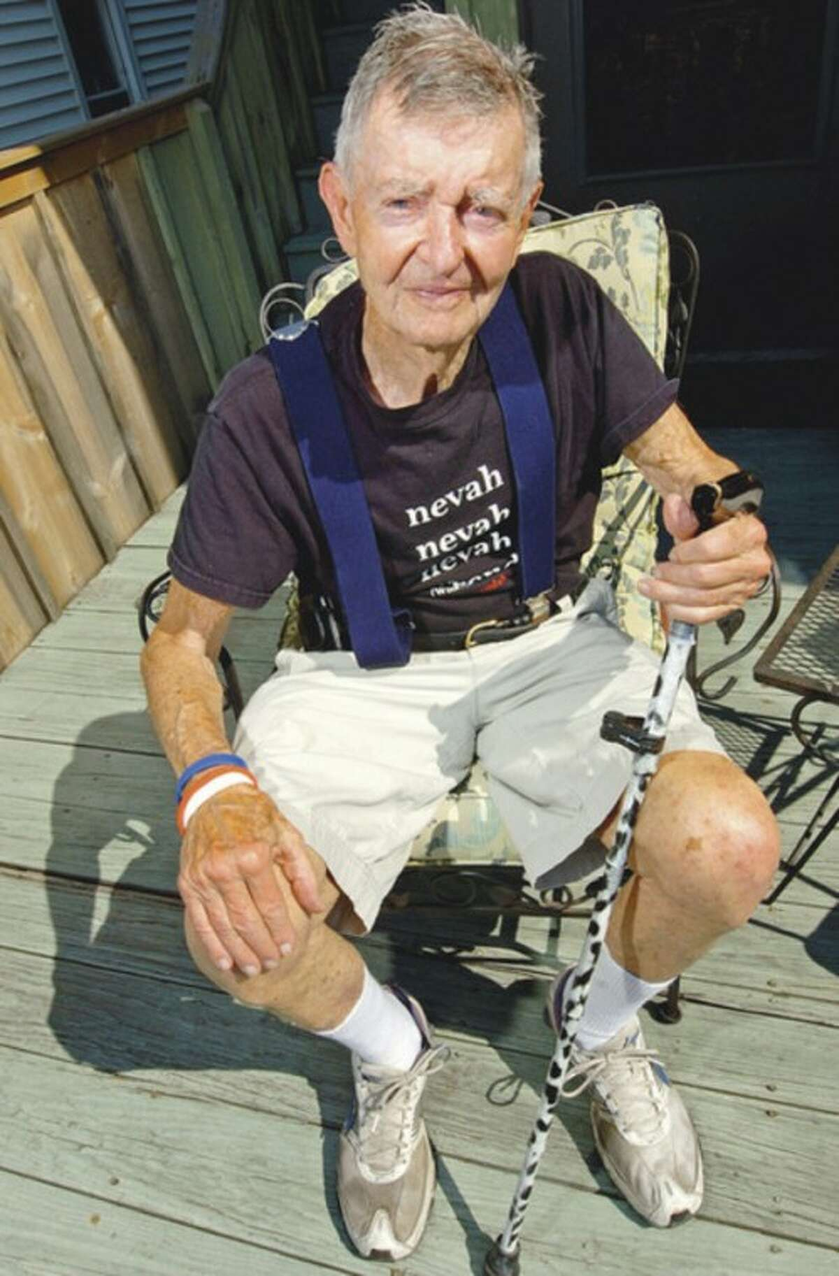 Hour photo / Erik Trautmann Paul Green has suffered from Parkinson's Disease for 20 years, but has slowed the progression from daily rowing activities. His rowing has inspired the Saugatuck Rowing Club to host an annual regatta to raise money for Green's Parkinson's Foundation, Never Surrender.
