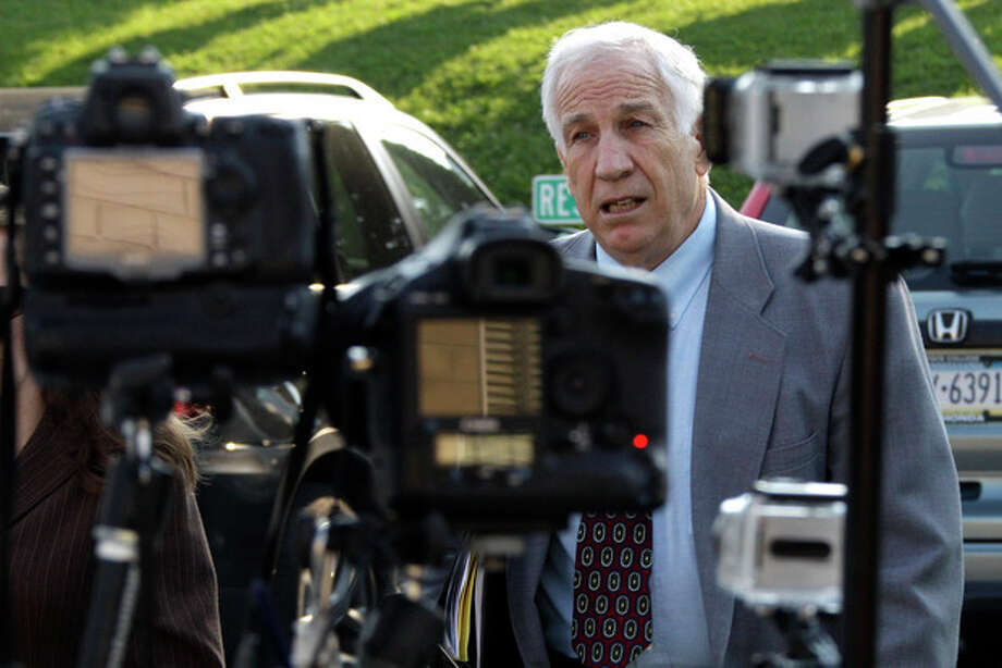 Former Penn State University assistant football coach Jerry Sandusky arrives at the Centre County Courthouse in Bellefonte, Pa., Thursday, June 21, 2012. Sandusky is charged with 51 counts of child sexual abuse involving 10 boys over a period of 15 years. (AP Photo/Gene J. Puskar) / AP