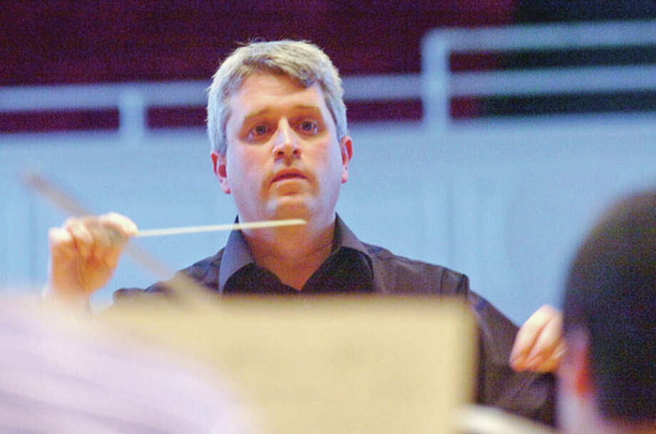 Dave Uptham participates in Beyond the Baton with the Norwalk Symphony Orchestra at the Concert Hall. / (C)2012, The Hour Newspapers, all rights reserved
