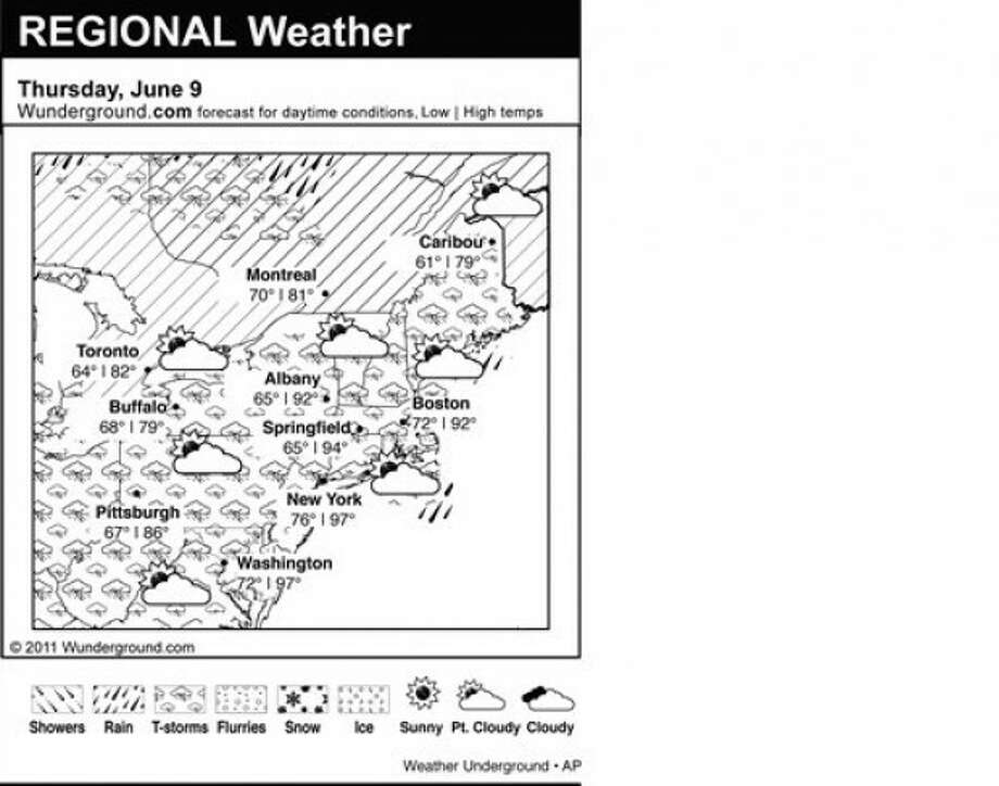 This is the Weather Underground forecast for Thursday, June 9, 2011 for the eastern region of the U.S. (AP Photo/Weather Underground)
