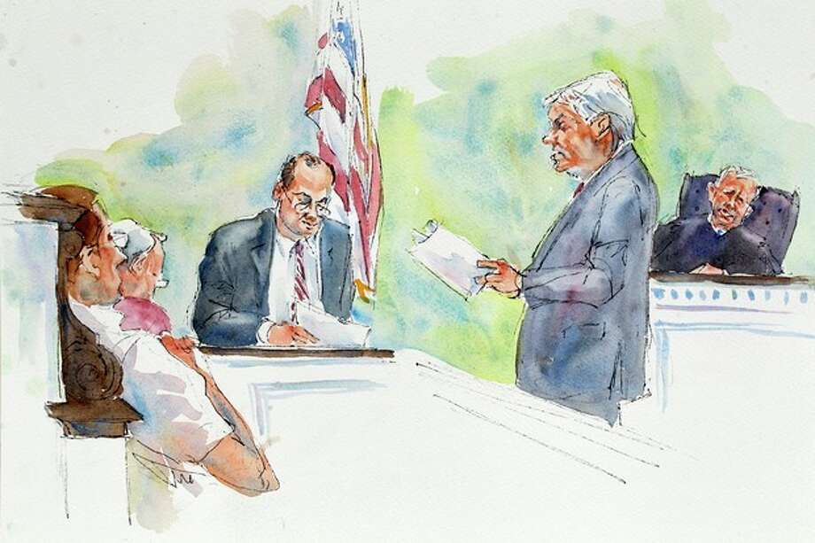 In this courtroom sketch, Judge John Cleland, right, listens as Joseph McGettigan III, Pennsylvania senior deputy attorney general, second from right, and Frank Fina, Pennsylvania chief deputy attorney general, third from right, re-create the testimony of Penn State assistant football coach on leave, Mike McQueary, for the jury, seated at left, during the child sexual abuse trial of former Penn State University assistant football coach Jerry Sandusky at the Centre County Courthouse in Bellefonte, Pa., Friday, June 22, 2012. The jury is in its second day of deliberations. (AP Photo/Aggie Kenny) / AP
