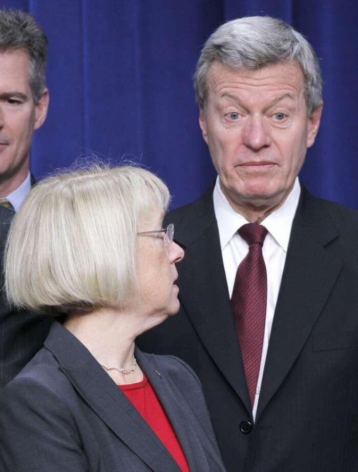 Supercommittee members, Senate Finance Committee Chairman Sen. Max Baucus, D-Mont., left, Supercommittee Co-Chair Sen. Patty Murray, D-Wash., are seen at a signing ceremony with President Barack Obama, Monday, Nov. 21, 2011, the Eisenhower Executive Office Building on the White House complex in Washington. (AP Photo/Pablo Martinez Monsivais)