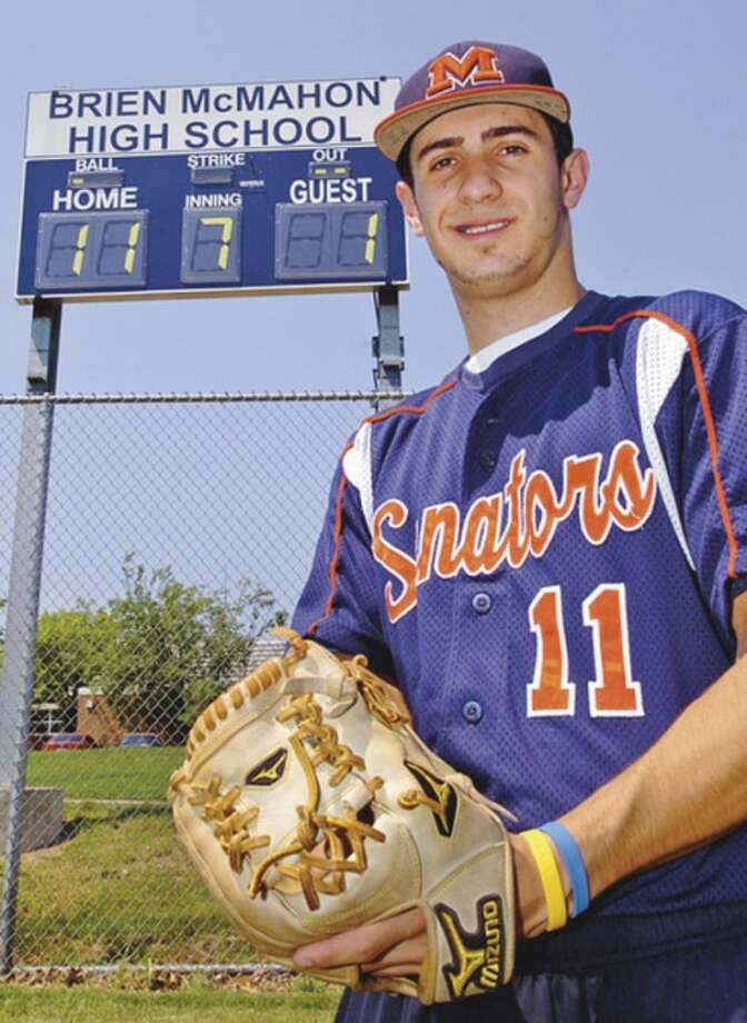 Hour photo/Erik TrautmannBrien McMahon standout Bryan Daniello has beeen selected as the MVP on The Hour's All-Area baseball team. The senior, who split his time between the pitching mound and shortstop, complied a xx-xx record on the mound and also hit .xxx with xx RBI for the Senators.