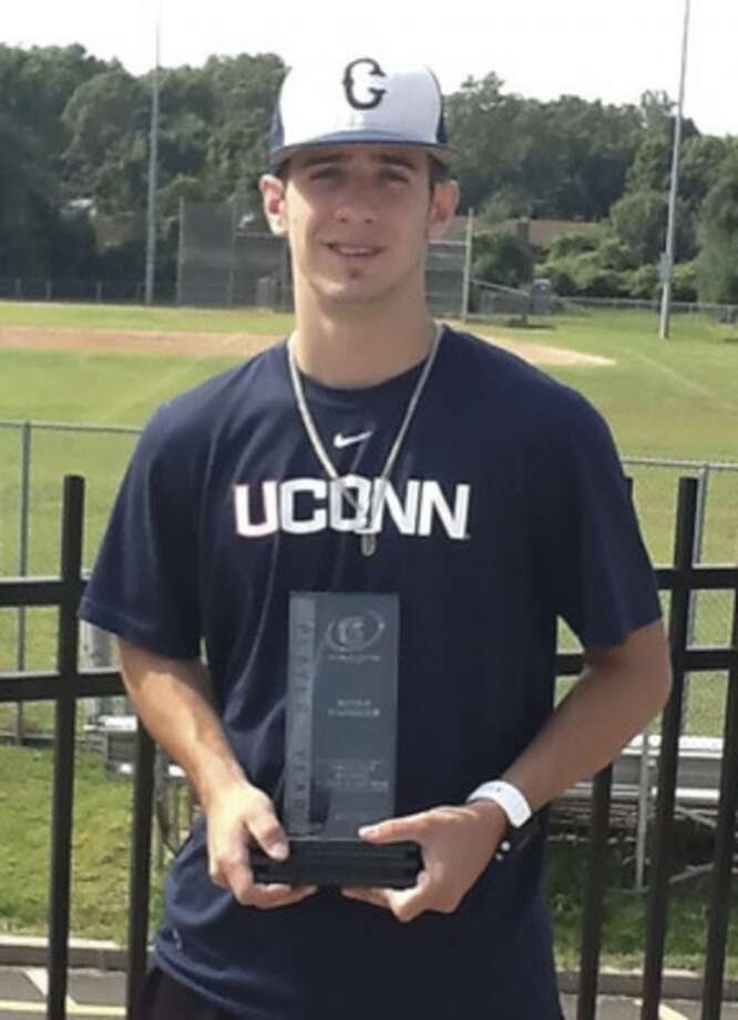 Bryan Daniello displays the Connecticut Gatorade Player of the Year award, one of several awards he earned following his stellar senior season at Brien McMahon. Daniello will be recognized Monday as the 2012 Norwalk Sports Person of the Year by the Fairfield County Sports Commission.Contributed photo