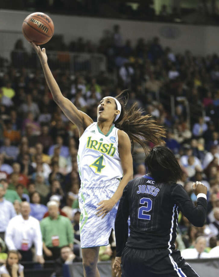 AP photoSkylar Diggins goes up for a shot in Notre Dame's regional final win over Duke. Diggins has checked everything off her wish list except a national championship. She continues her pursuit Sunday against UConn.