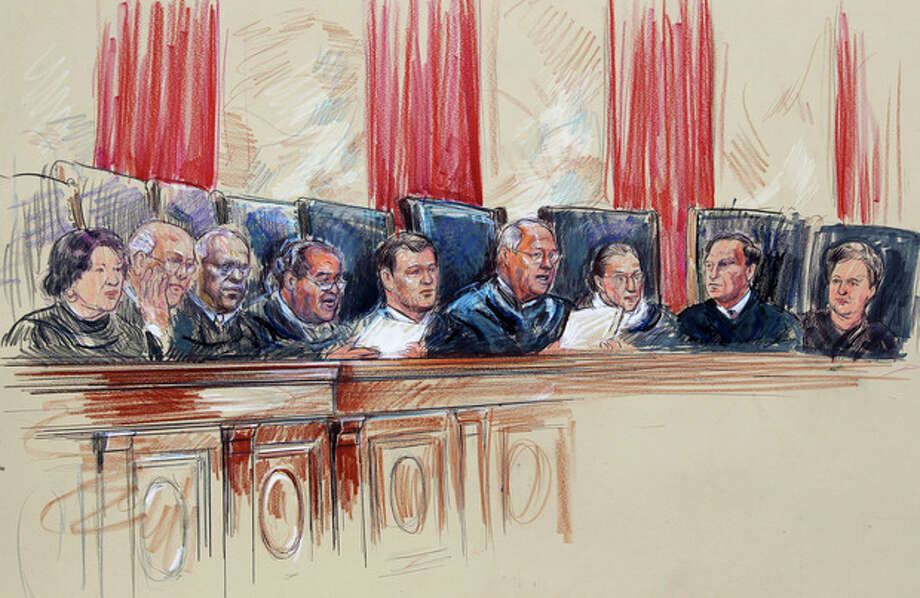This artist rendering shows Supreme Court Justices from left, Sonia Sotomayor, Stephen Breyer, Clarence Thomas, Antonin Scalia, Chief Justice John Roberts, Anthony Kennedy, Ruth Bader Ginsburg, Samuel A. Alito, and Elena Kagan inside Supreme Court in Washington, Monday, June 25, 2012. (AP Photo/Dana Verkouteren) / AP