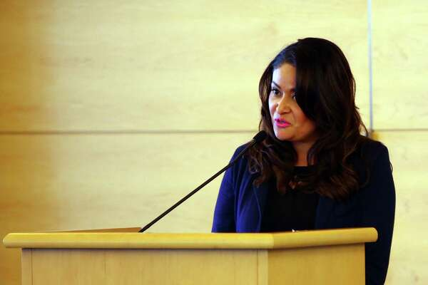 Seattle City Councilwoman Lorena Gonzalez speaks during a naturalization ceremony at Seattle City Hall, Tuesday, June 14, 2016.