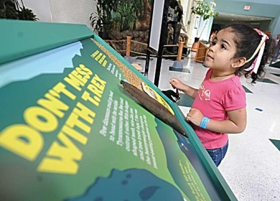 3 year old Antonella Napoli enjoys the Dinosaur Summer exhibit Thursday at the Maritime Aquarium. hour photo/matthew vinci