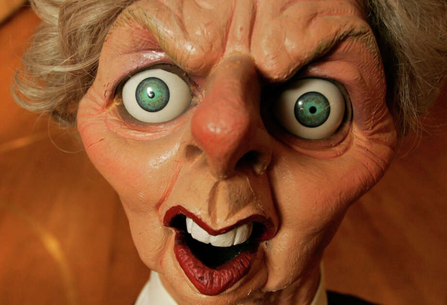 FILE - This is a Wednesday, Nov. 7, 2007 file photo of a Spitting Image puppet of former British prime minister Margaret Thatcher now Baroness Thatcher's, at Christie's auction house in London, Spitting Image was a satirical puppet show televised in Britain in the 1980's and 1990's. Former British Prime Minister Margaret Thatcher, whose conservative ideas made an enduring impact on Britain died Monday April 8, 2013. She was 87. (AP Photo/Alastair Grant, File) / AP