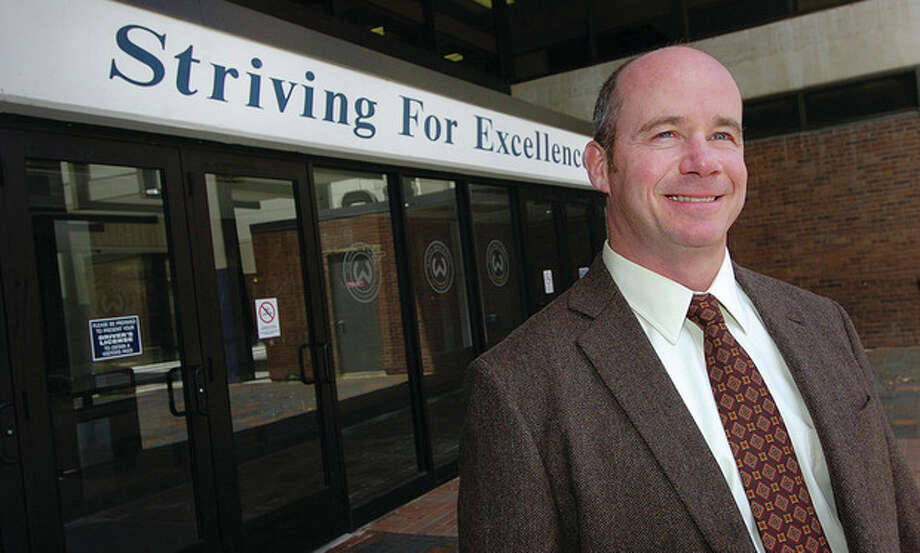 Hour Photo Alex von KleydorffBob O'Donnell, who has permanently taken over as principal at Wilton High School after spending the past school year as the school's acting principal. / 2012 The Hour Newspapers