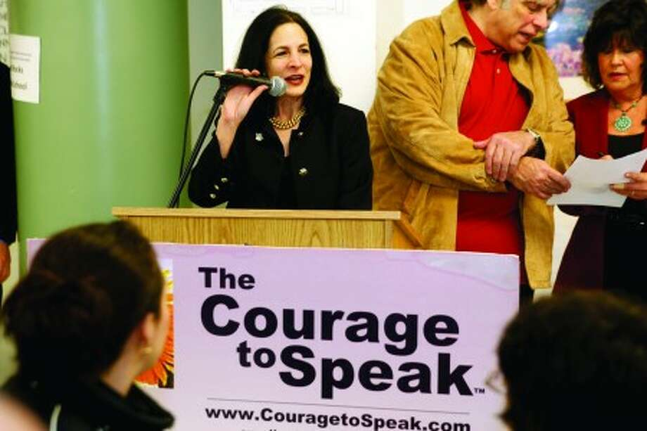 State Representative Gail Lavielle speaks during dinner at The Courage to Speak''s Empowering Youth To Be Drug Free Family Night at West Rocks Middle School in Norwalk Tuesday evening. Hour Photo / Danielle Robinson