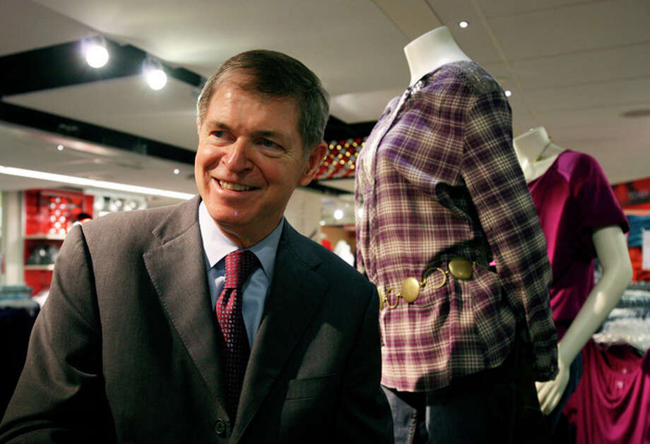 In this Oct. 23, 2009 photo, Mike Ullman, Chairman and CEO of J.C. Penney Company, Inc., visits a company store in New York. Mike Ullman was named CEO of JC Penney's after Ron Johnson was ousted on Monday, April 8, 2013, after restructuring backfired. (AP Photo/Mark Lennihan) / AP