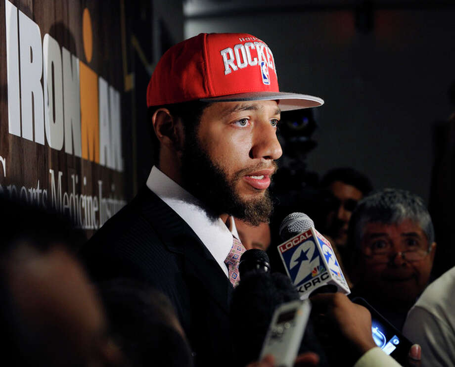 Houston Rockets first round draft pick Royce White from Iowa State speaks with the media at a press conference Friday, June 29, 2012, in Houston. (AP Photo/Pat Sullivan) / AP