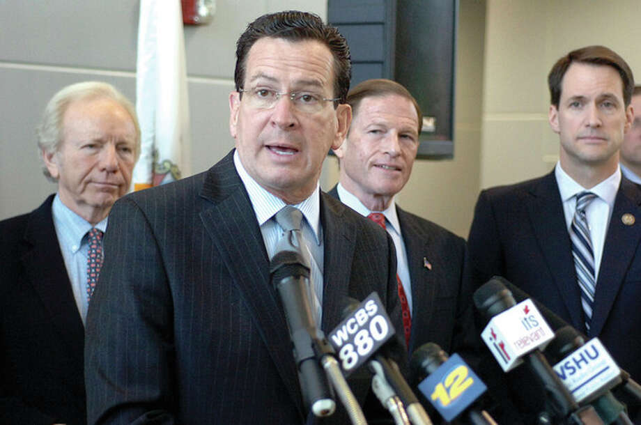 Hour Photo/ Alex von Kleydorff. Gov. Malloy announces money for a transpotation project in Stamford. / 2011 The Hour Newspapers