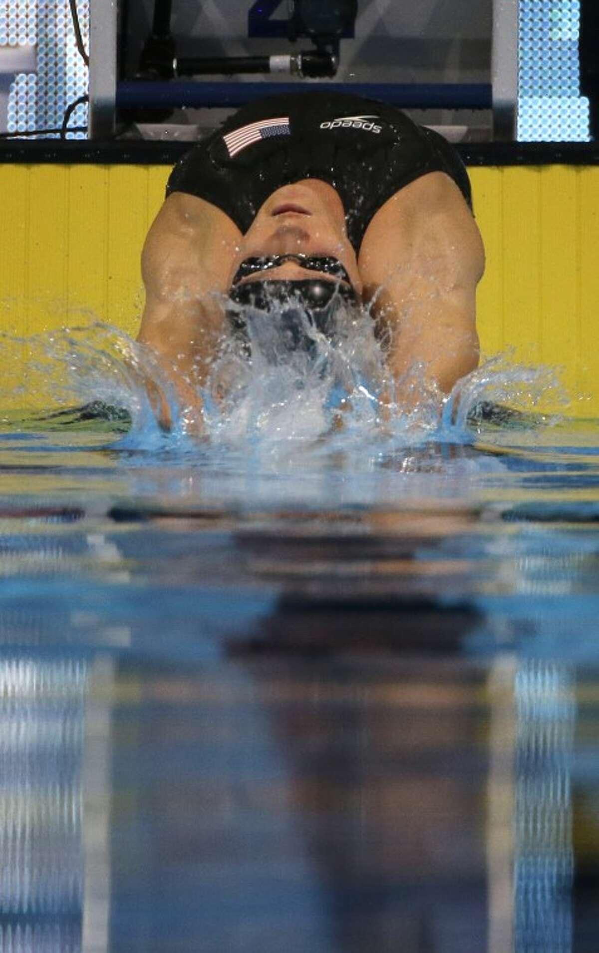 Elizabeth Pelton swims in the women's 200-meter backstroke final at the U.S. Olympic swimming trials on Saturday, June 30, 2012, in Omaha, Neb. (AP Photo/Mark Humphrey)