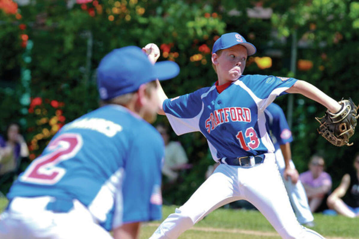Stratford's Connor Anstis pitches during the opening Cal Ripken 12-year-old All Star District Tournament game against Norwalk. Hour Photo / Chris Palermo