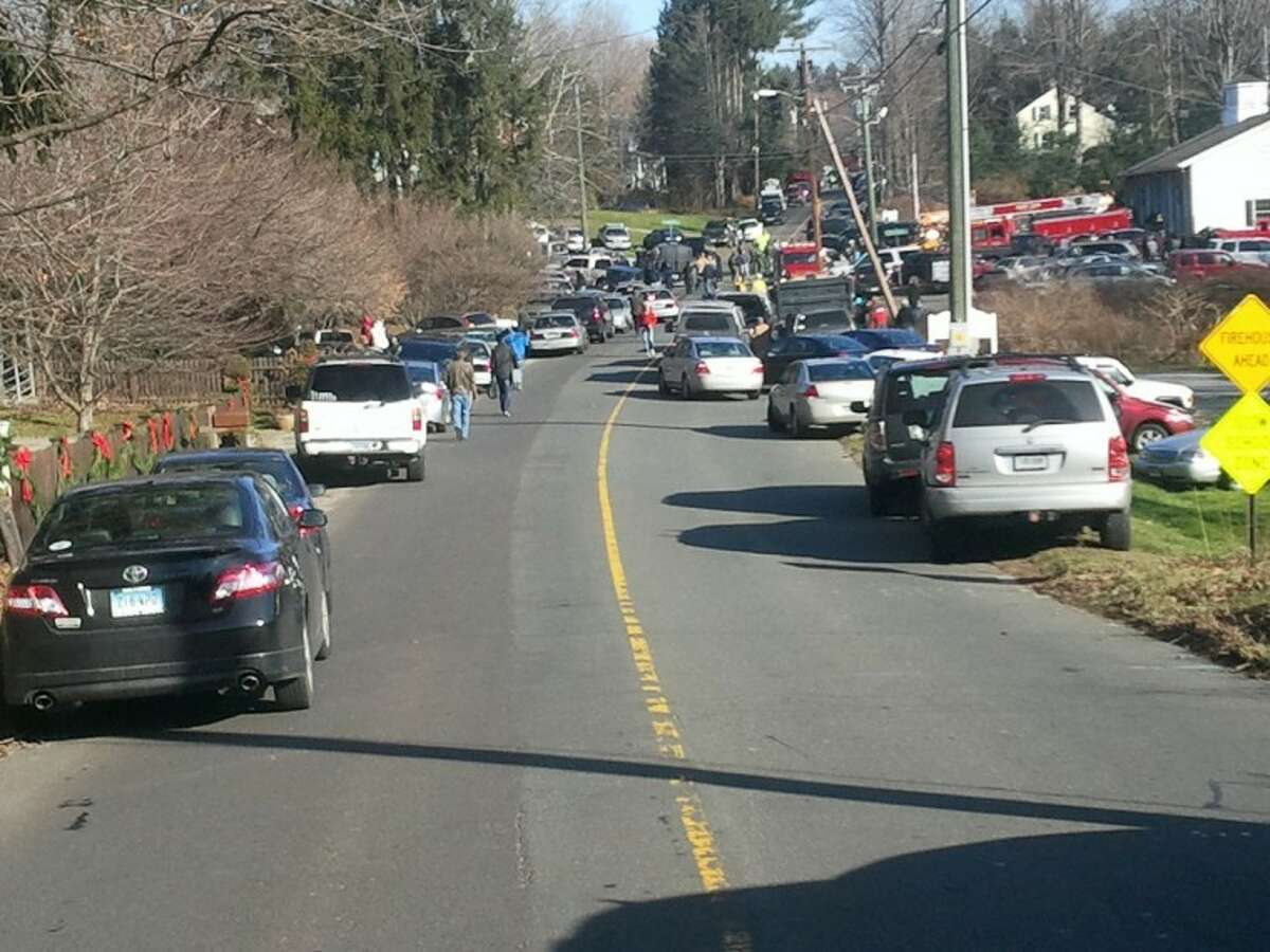 The scene in Newtown near Sandy Hook Elementary School, where a shooting took place Friday morning.