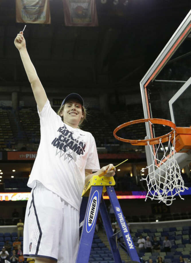 Connecticut forward Breanna Stewart (30) celebrates after defeating Louisville 93-60 in the national championship game of the women's Final Four of the NCAA college basketball tournament, Tuesday, April 9, 2013, in New Orleans. (AP Photo/Gerald Herbert)