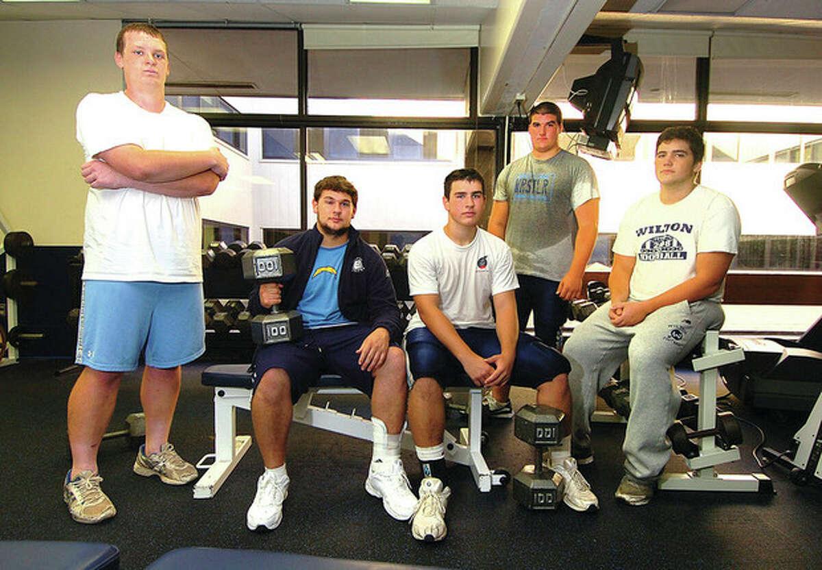 Hour Photo/ Alex von Kleydorff. Wilton Footballs l-r Hunter Geraghty, Connor Buhler, Marko Piedmont, Joe Fraccaroli and Michael LaSala