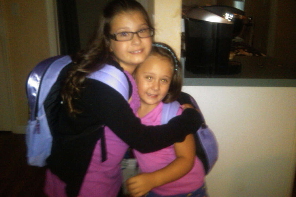 READER PHOTO: Below is a picture of Mia (4th)and Ava Cirillo(Kindergarten) - first day back @ Julia Stark and so excited.