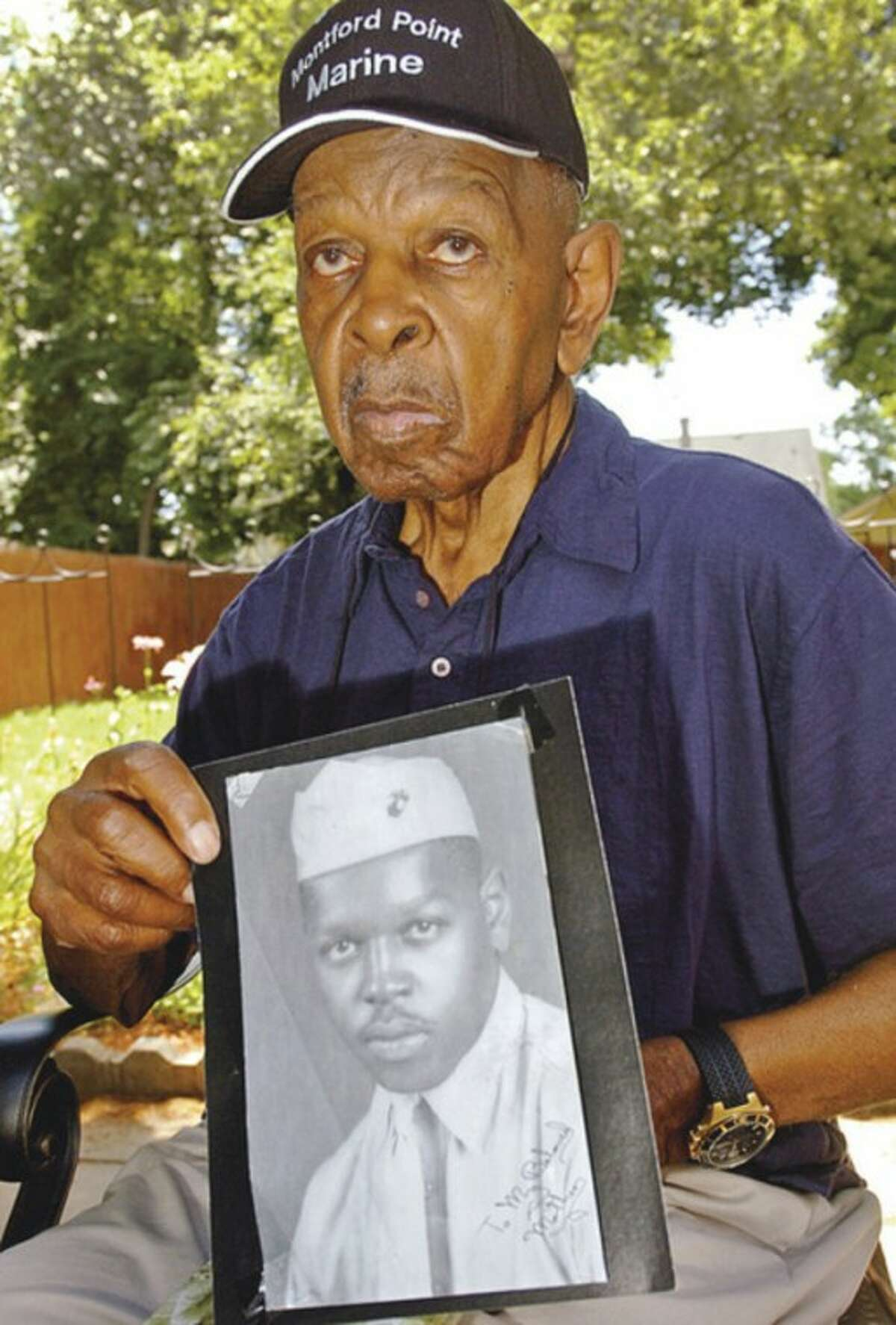 Hour photos / Erik Trautmann Norwalk resident Isaac Ballard was one of the first African-American Marines who enlisted during WWll. Ballard and other surviving Montford Point Marines were honored by Congress last week.