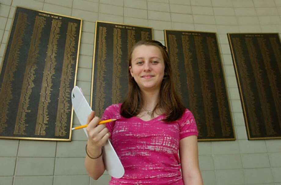 Kamila Plesz, 14, is among the 100 students from Roton Middle School this year who conducted a field study of local monuments as part of a project called