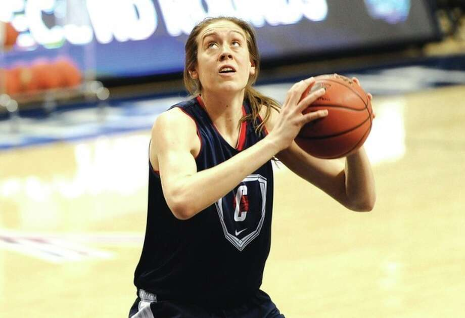Connecticut's Breanna Stewart looks to shoot during practice for a first-round game in the women's NCAA college basketball tournament in Storrs, Conn., Friday, March 22, 2013. Connecticut will play Idaho on Saturday. (AP Photo/Jessica Hill) / FR125654 AP
