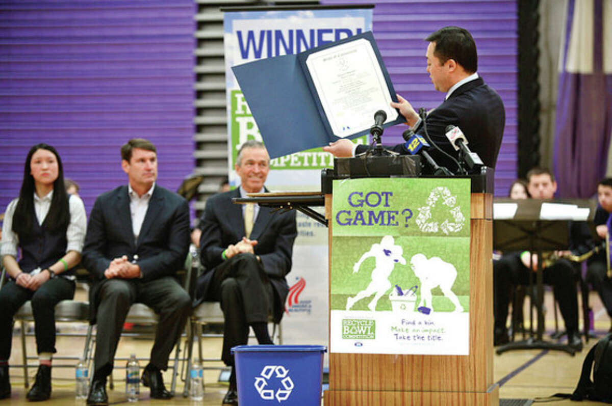 State Representative William Tong ( 147th) speaks as Stamford's Westhill High School holds an award ceremony for their Keep America Beautiful Recycling Bowl win. The high school recycled 3.56 pounds of waste per student, the best of the 28 schools in the state of Connecticut. Hour photo / Erik Trautmann