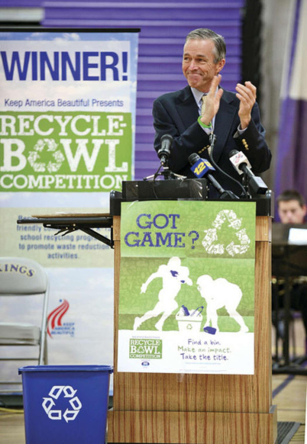 Hour photo / Erik Trautmann Keep America Beautiful president Matt McKenna speaks as Stamford's Westhill High School holds an award ceremony for the Keep America Beautiful Recycling Bowl win.