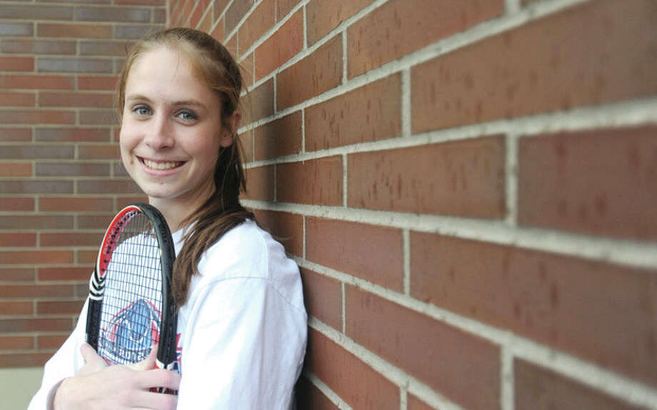Hour photo/John NashWeston senior Kimmy Guerin is looking for a Connecticut grand slam of four straight state singles championships this spring. Only one other player in CIAC history has accomplished the feat.