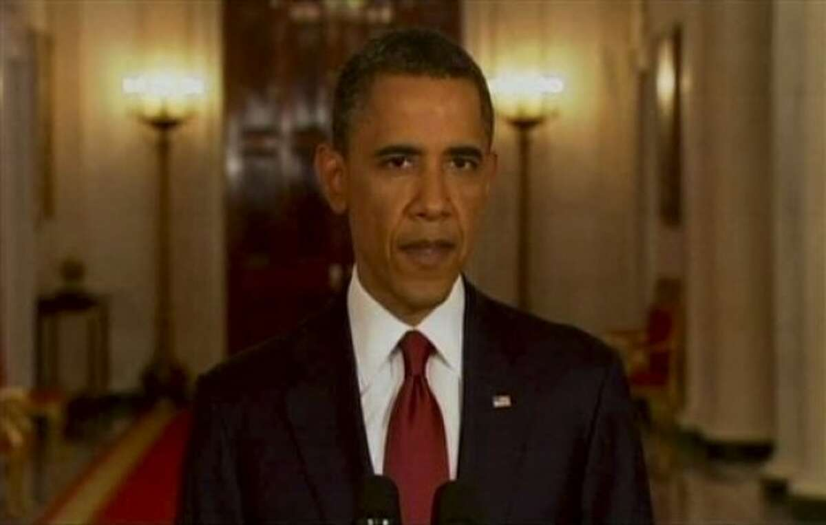 President Barack Obama addresses the nation Sunday, May 1, 2011, in Washington. Osama bin Laden, the mastermind behind the Sept. 11 attacks against the United States, is dead, and the U.S. is in possession of his body, a person familiar with the situation said late Sunday. (AP Photo)