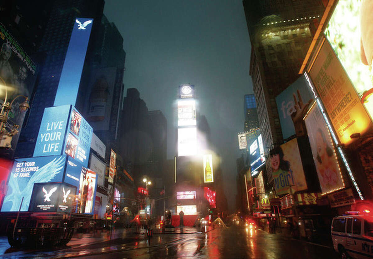 Times Square is seen during Hurricane Irene in New York, on Sunday, Aug. 28, 2011. (AP Photo/Mike Groll)
