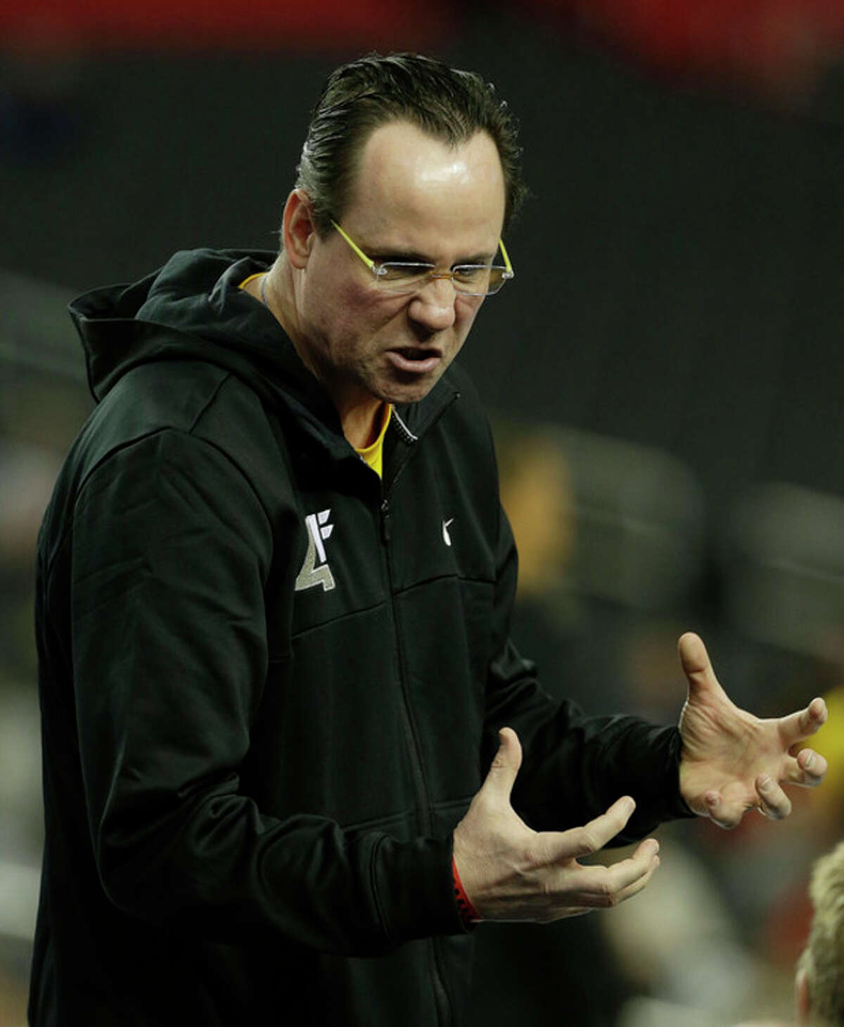 Wichita State head coach Gregg Marshall speaks to players during practice for their NCAA Final Four tournament college basketball semifinal game against Louisville, Friday, April 5, 2013, in Atlanta. Wichita State plays Louisville in a semifinal game on Saturday. (AP Photo/John Bazemore)