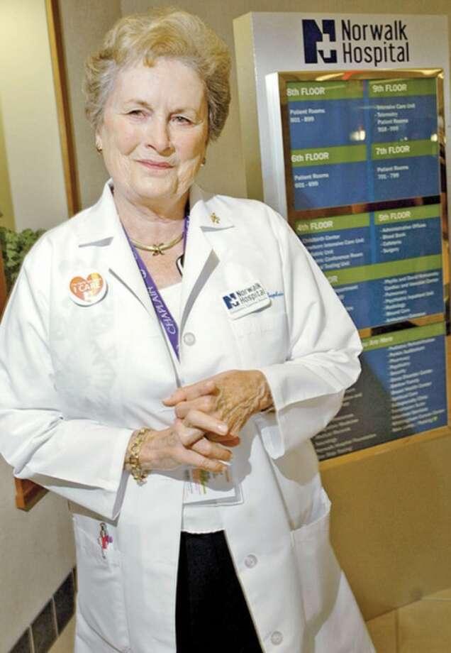 Hour photo / Erik TrautmannNorwalk Hospital chaplain and philanthropist Carol Bauer receives Connecticut Hospital Association 2012 Healthcare Hero Award.