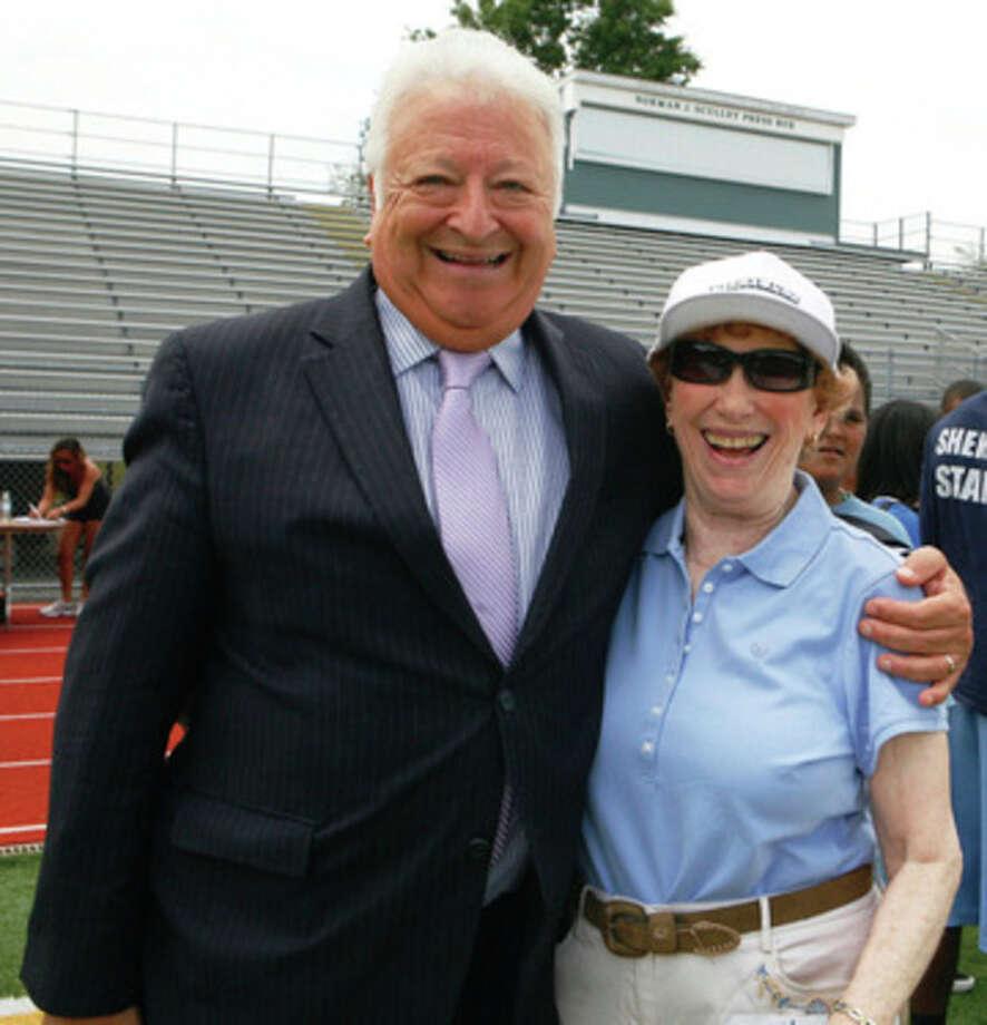 Photo by Olivier Kpognon Norwalk Mayor Richard Moccia with Chelsea Cohen's grandmotehr, Marilyn Rittner.