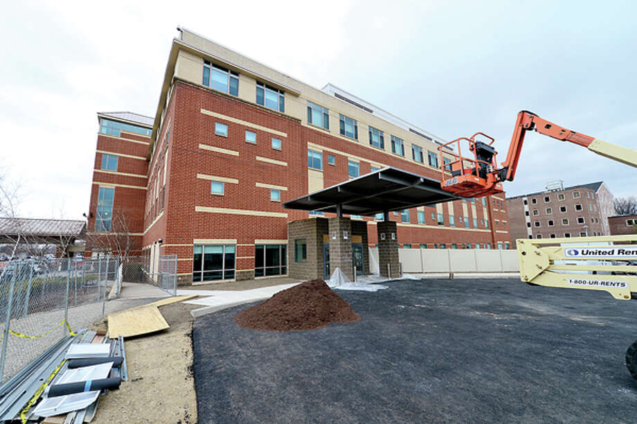 The main entrance, valet parking and visitor parking for the Whittingham Pavillion and the Bennett Cancer Center will be relocated to the southside of the campus to make room for construction on a new main building to begin next week.Hour photo / Erik Trautmann / (C)2013, The Hour Newspapers, all rights reserved