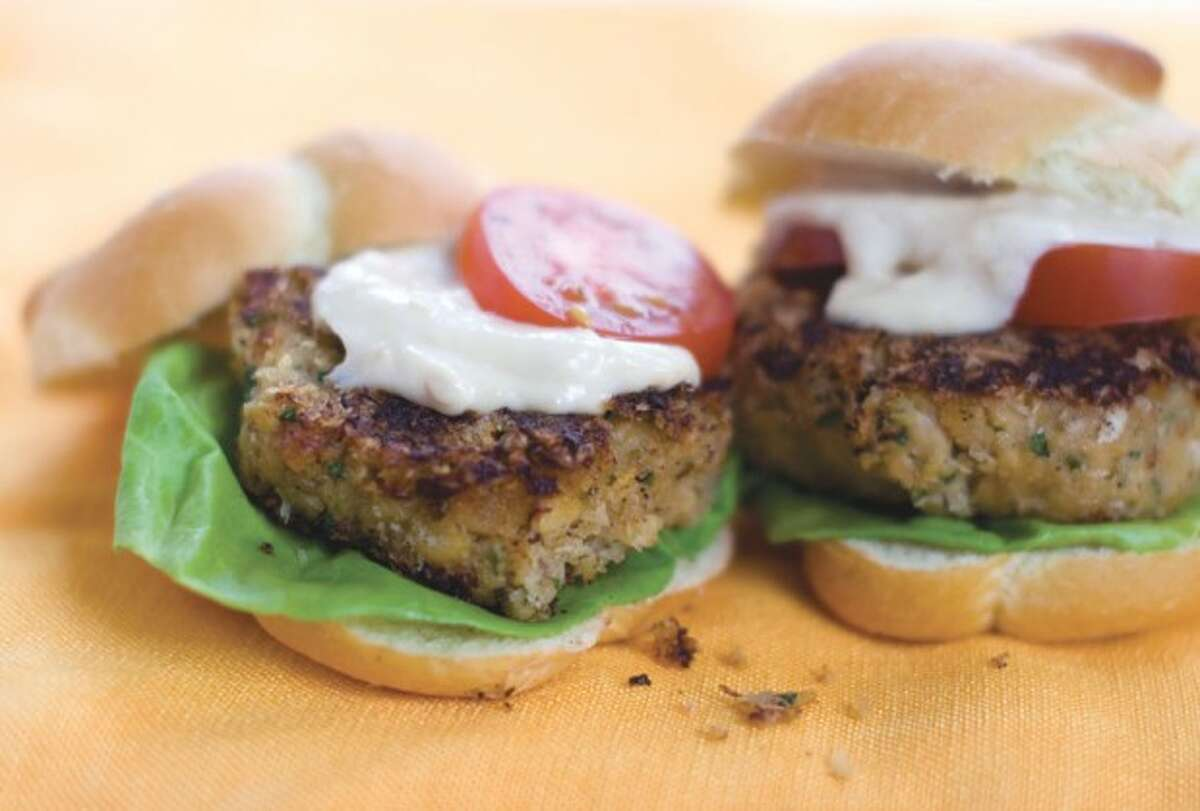 This May 16, 2011 photo shows miso chickpea sliders in Concord, N.H. Made from ground chickpeas, these patties traditionally are fried, but also can be cooked in a skillet or baked. And because chickpeas are agreeable to a broad range of flavors, it