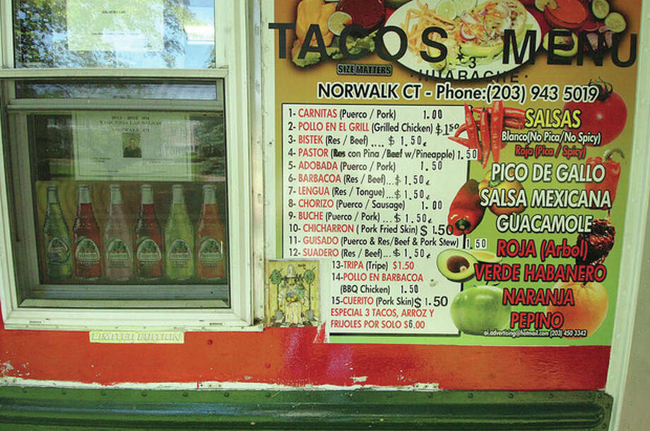 Hour Photo/ Alex von Kleydorff. The menu is varied and tasy at Taqueria Las Salsas food truck on Veterans Green in Norwalk / 2012 The Hour Newspapers
