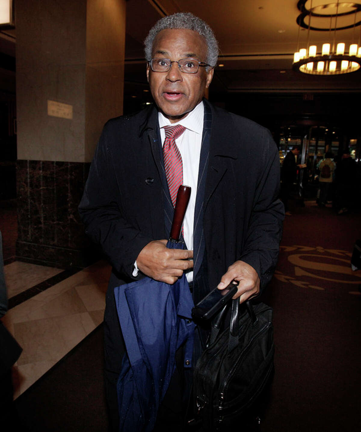 Billy Hunter, Executive Director of the National Basketball Players Association, arrives for the NBA labor negotiations, in New York, Wednesday, Oct. 19, 2011. NBA owners and players are meeting for a second straight day, shortly after finishing a 16-hour marathon with a federal mediator.(AP Photo/Richard Drew)
