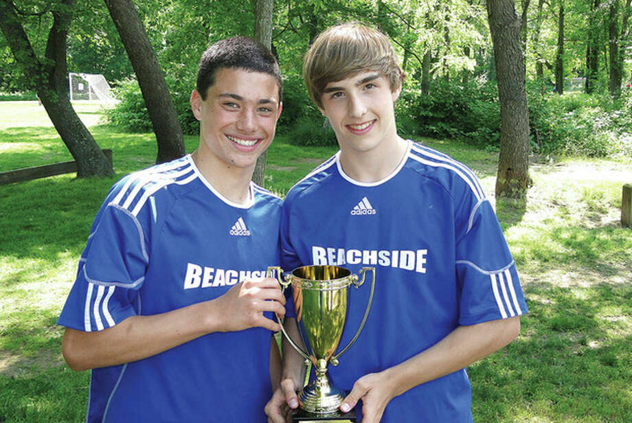 Contributed photo Wilton High students David Brown, left, and Sean Dedrick were part of BeachsideÕs U-15 State Cup championship team that will play in the Region One tournament in Pennsylvania in June.