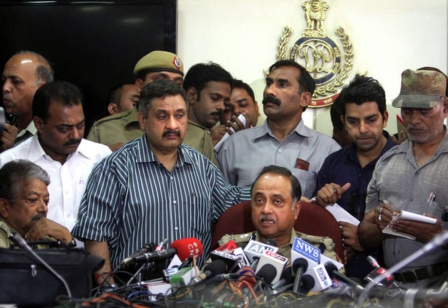 Delhi Police Commissioner Neeraj Kumar speaks during a press conference in New Delhi, India, Monday, April, 22, 2013. A second suspect was arrested Monday in the rape of a 5-year-old girl who New Delhi police said was left for dead in a locked room, a case that has brought a new wave of protests against how Indian authorities handle sex crimes. (AP Photo/Tsering Topgyal) / AP