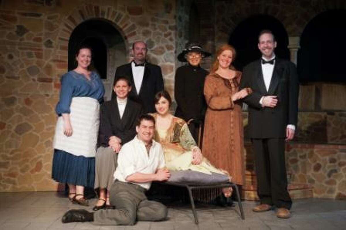 the cast: l-r: standing: Julie Thaxter-Gourlay, Rob Gardner,Trish Haskell, Kate Telfer, Hugh Tucker, seated: Shelley Lepetich, Katie Castaldi, on floor: Philip Hahn