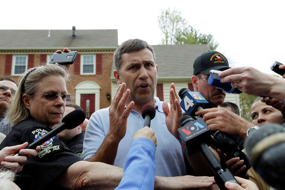 Ruslan Tsarni, the uncle of the Boston Marathon bombing suspect, speaks with the media outside his home in Montgomery Village in Md. Friday, April, 19, 2013. Tsarni urged his nephew to turn himself in. (AP Photo/Jose Luis Magana) / FR159526 AP