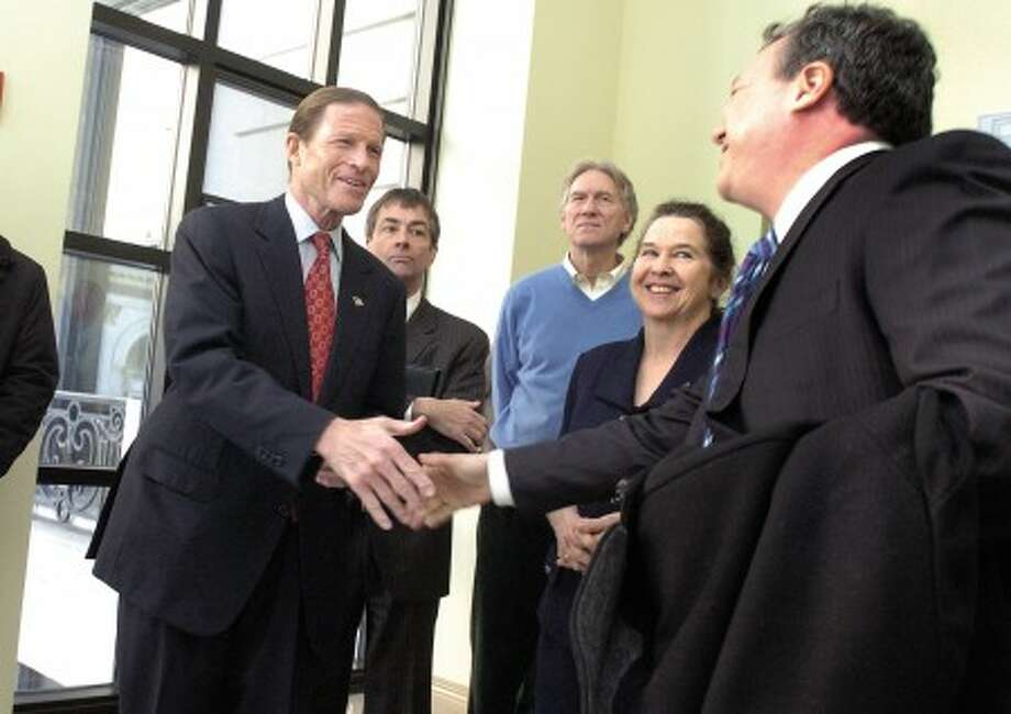 U.S. Sen. Richard M. Blumenthal at the Old Town Hall in Stamford on Monday, where he announced that he will conduct a two-week tour across the state to discuss the economy. Stamford Times photo/matthew vinci