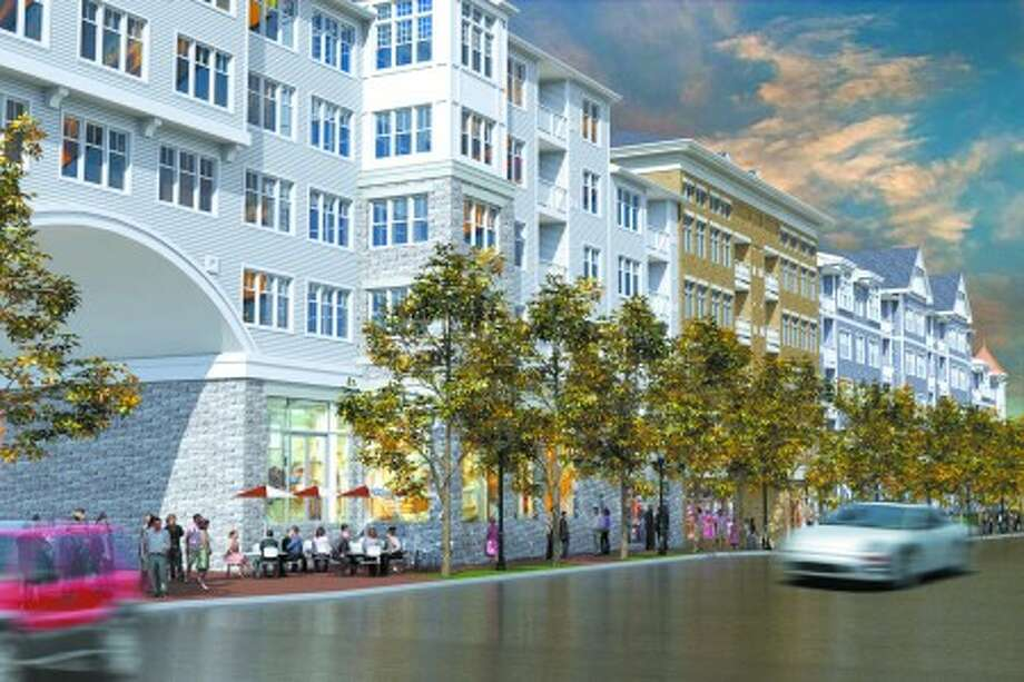 Contributed image -- Rendering of Waypointe development at Orchard Street showing Phase One of the revamped Waypointe Project, including street-level retail and dining, upper-level apartments and pedestrian arcade exiting onto Orchard Street.