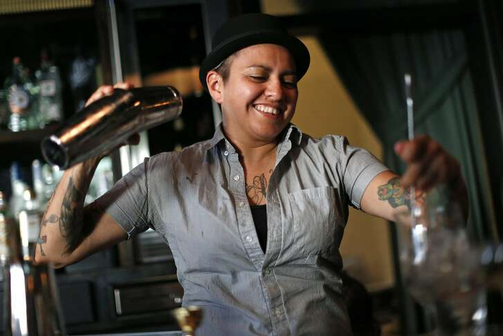 Christina Cabrera tends bar at Wildhawk in San Francisco, Calif., on Tuesday, June 14, 2016.