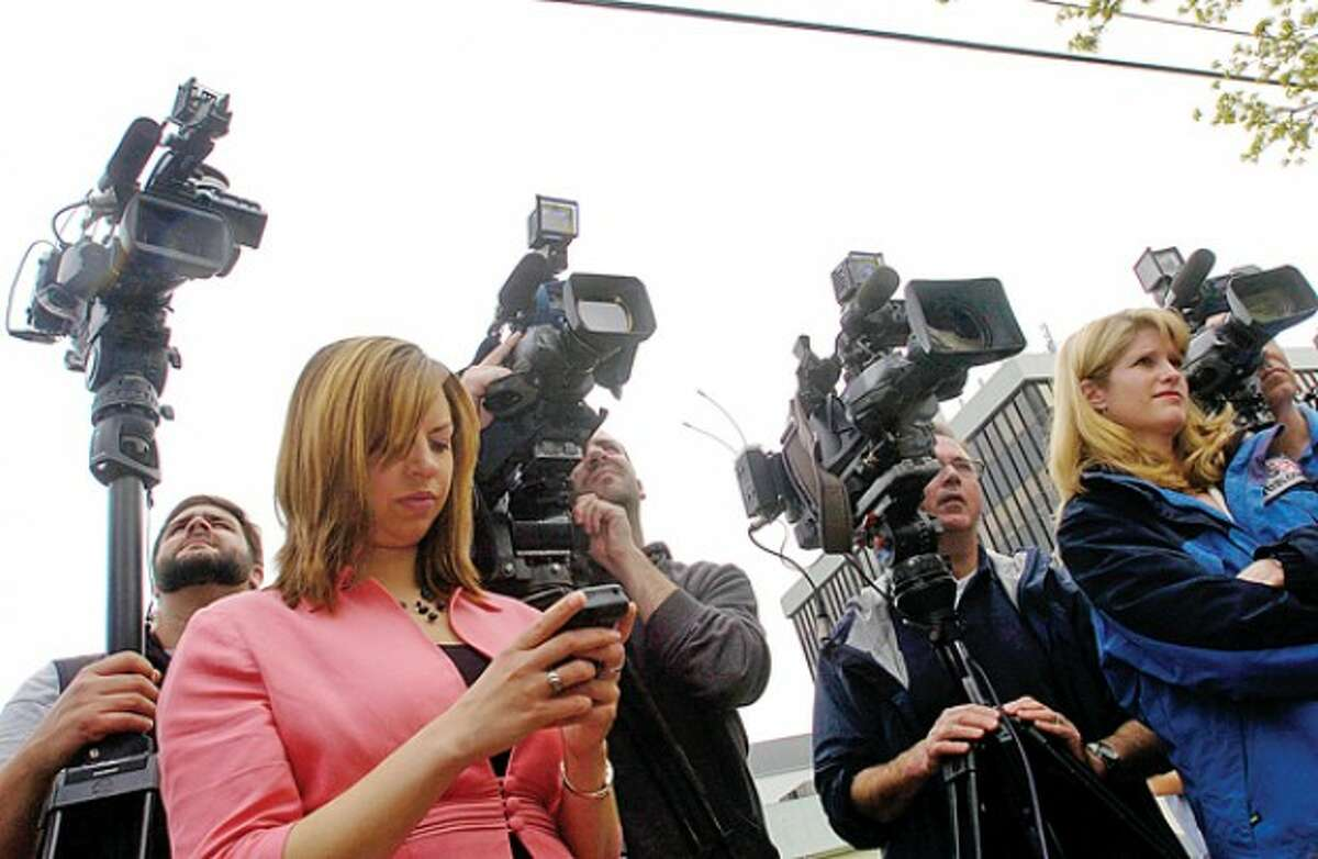 Scot X Esdaile, President Connecticut State Conference of NAACP Branches, comments on the case against Tanya McDowell,who was charged with fraud after she allegedly enrolled her son the Norwalk Public Schools, during a press conference outside Norwalk Superior Court Wednesday morning. Hour photo / Erik Trautmann