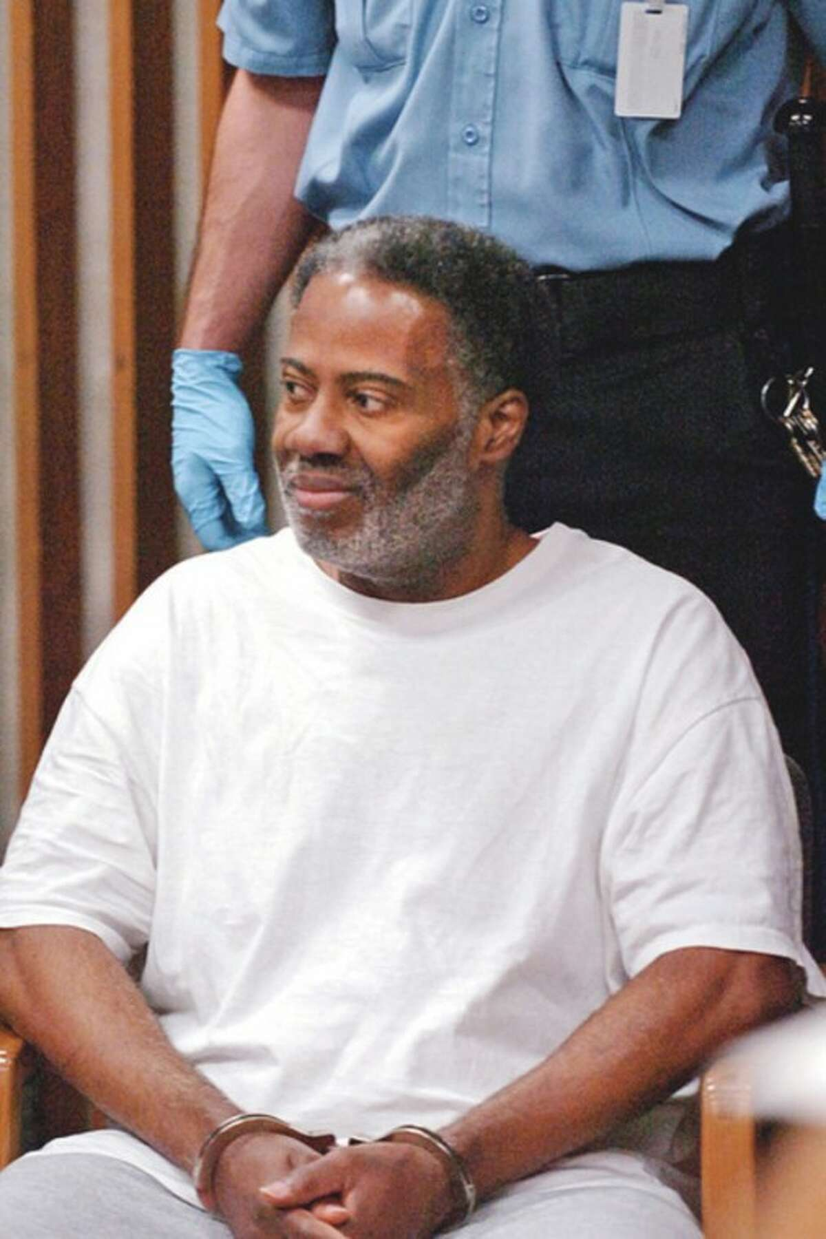 Pernell McBride is held on a one million dollar bond following his arraignment on charges of murder at Norwalk Superior Court Tuesday. Hour photo / Erik Trautmann