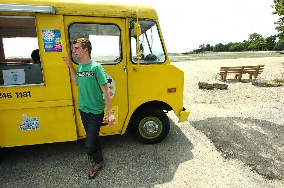 Hour Photo/ Alex von Kleydorff. Rick Snyder with his I Scream Ice Cream truck in Westport.
