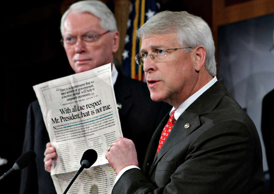 FILE - In this Jan. 29, 2009, file photo Sen. Roger Wicker, R-Miss., speaks during a news conference at the Capitol in Washington, Senate Majority Leader Reid said Tuesday, April 16, 2013, that letter with ricin or another poison was sent to Wicker. (AP Photo/J. Scott Applewhite, File) / AP